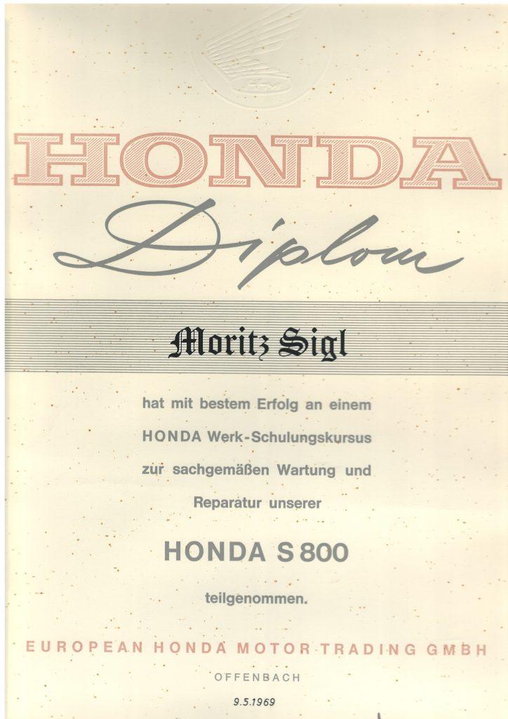 SCHULUNGSDIPLOM HONDA S800