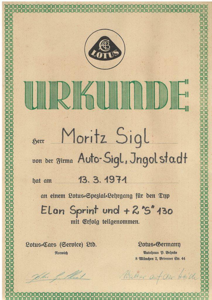 """SCHULUNGSURKUNDE ELAN SPRINT UND +2 """"S"""""""