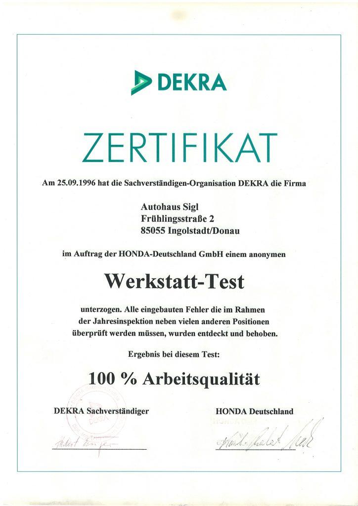 DEKRA-ZERTIFIKAT ZUM ERFOLGREICHEN WERKSTATT-TEST